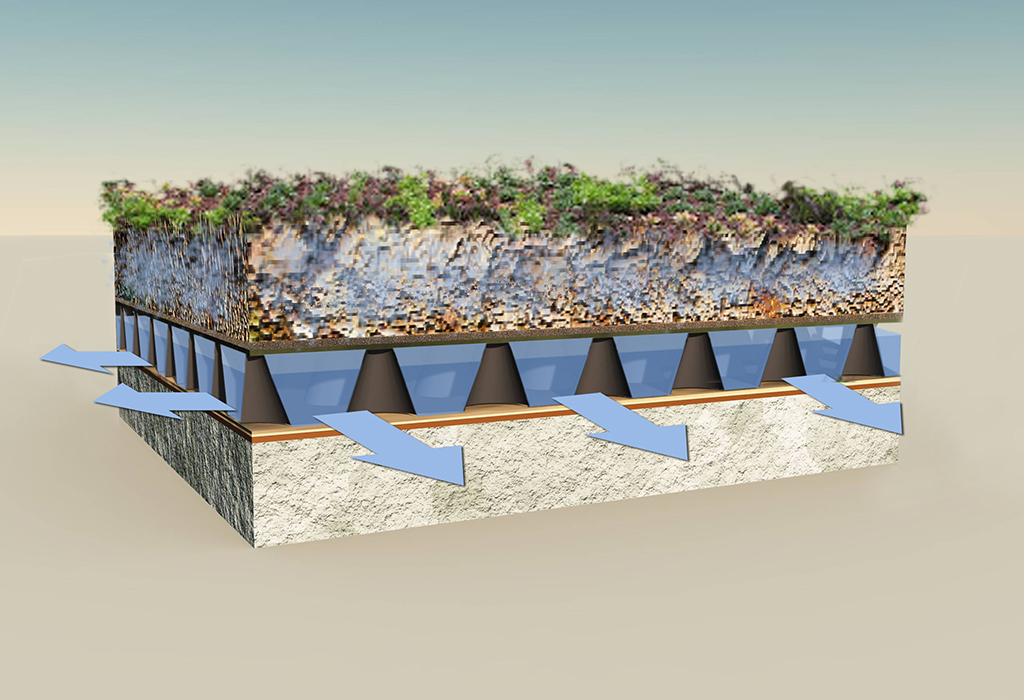 sistema drenaje cubierta ajardinada